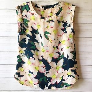 J Crew | Navy & Pink Floral Blouse Top | Size 4